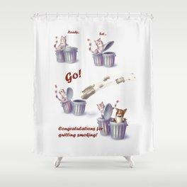 Greeting for Quitting Smoking-Cat Shower Curtain