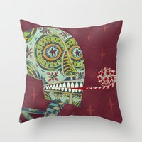 happy birthday Throw Pillows featuring Happy Birthday by Santiago Uceda