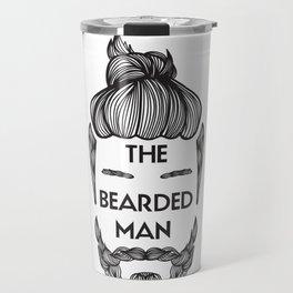 Bearded Man with Man Bun Beard Lover Travel Mug