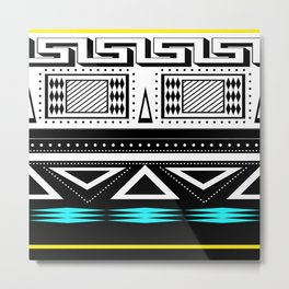 Black and white c turquoise abstract striped pattern 2 . Metal Print
