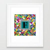 monogram Framed Art Prints featuring F Monogram by mailboxdisco