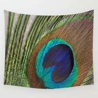 peacock feather Wall Tapestries featuring Peacock Feather by aquenne