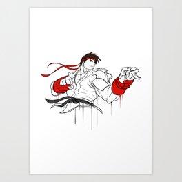 street fighter ryu character  fan art by me Art Print