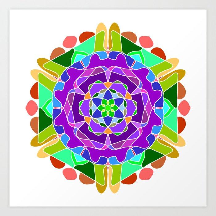 Abstract Festive Colorful Mandala Art Print By Doomrabbit
