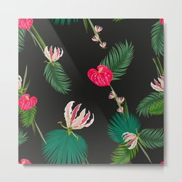 Hand Drawn Anthurium and Tropical Pink Flowers With Palm Leaves Pattern Metal Print