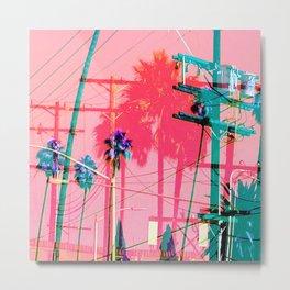 Electric Pole Glitched Metal Print