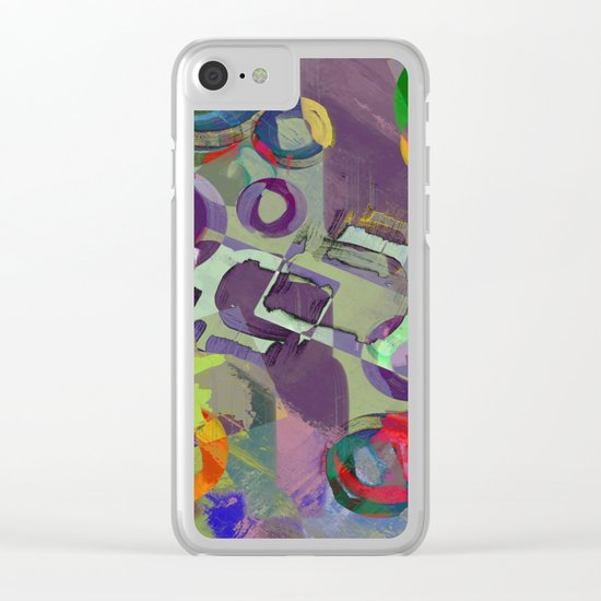 Living In A Purple Dream - Abstract, eclectic, random, purple. lilac, pastel artwork Clear iPhone Case