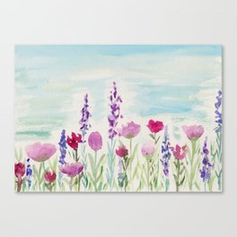 Watercolor Wildflower Landscape Canvas Print