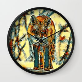 AnimalArt_Fox_20170602_by_JAMColorsSpecil Wall Clock