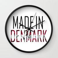 denmark Wall Clocks featuring Made In Denmark by VirgoSpice