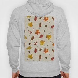 Autumn ivory gold brown fall leaves pattern Hoody