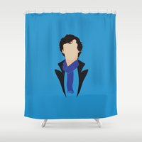 moriarty Shower Curtains featuring 1 Sherlock Holmes by Alice Wieckowska