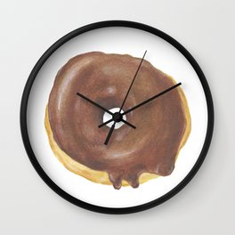 Chocolate Iced Doughnut Wall Clock