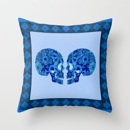 Till Death do us Part Boho Blue Skull Stamp Print Throw Pillow