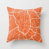 madrid Throw Pillows featuring Madrid Map by Studio Tesouro
