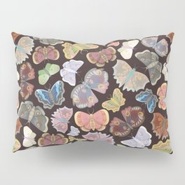 Moths Pattern - Dark Brown Pillow Sham