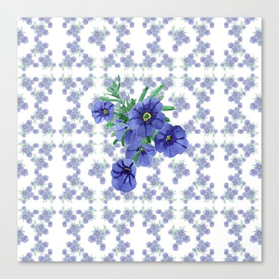 Violet Flowers Pattern Canvas Print
