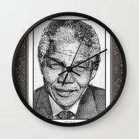 mandela Wall Clocks featuring Nelson Mandela by JMcCombie
