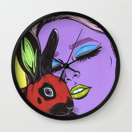 girl with rabbit Wall Clock