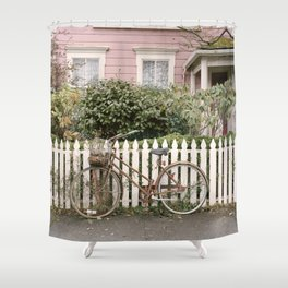 The Bicycle and Pink House Shower Curtain