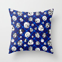 Navy Plaid Furbaby faces Throw Pillow