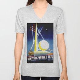 Vintage New York World's Fair 1939 Travel Unisex V-Neck