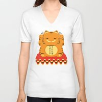 garfield V-neck T-shirts featuring Lucky Garfield by Ashley Hay