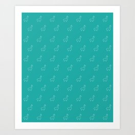 Baesic Llama Pattern (Teal) Art Print