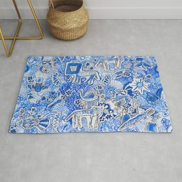 Delft Blue and White Pattern Painting with Lions and Tigers and Birds Rug