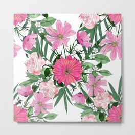 Boho chic garden floral design Metal Print