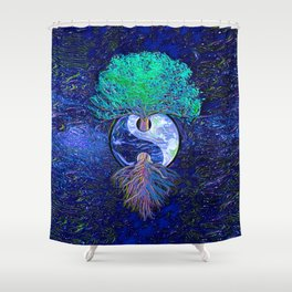Tree of Life Yin Yang Earth Space Shower Curtain