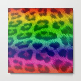 Rainbow Leopard Print Pattern Design Metal Print