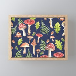 Mushrooms - Blue Framed Mini Art Print