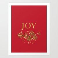 Joy in modern typography with greenery Art Print