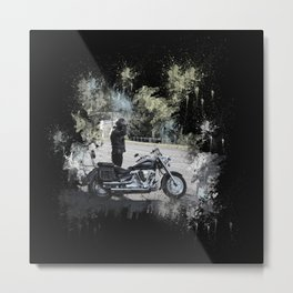Biker near motorcycle on black Metal Print