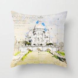 Sacré-Cœur de Montmartre, Basilica of the sacred Heart, Paris Throw Pillow
