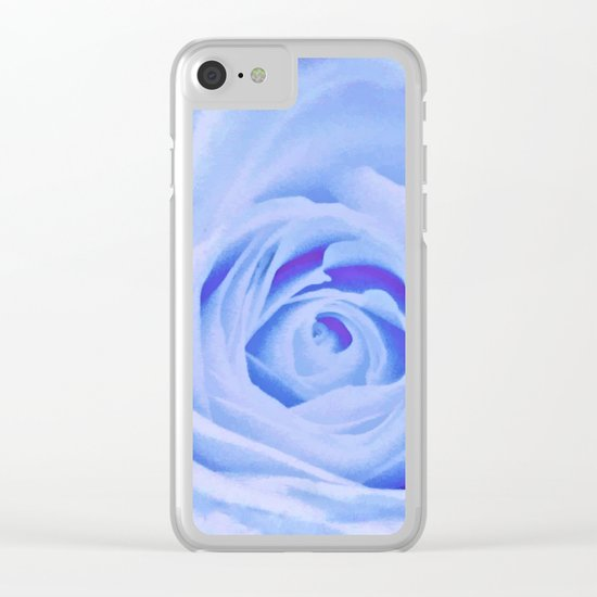 Blue Watercolor Rose Clear iPhone Case