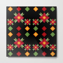 Abstraction .National ethnic ornament . Black background . Metal Print