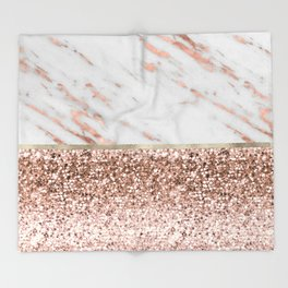 Warm chromatic - rose gold marble Throw Blanket