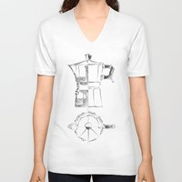 blueprint V-neck T-shirts featuring Coffee pot blueprint sketch  by Eltina Giannopoulou