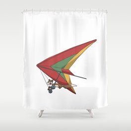 Squirrel in a hang glider Shower Curtain