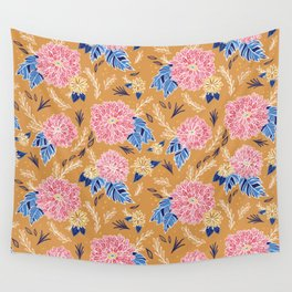 Autumn Botanical in Pumpkin Spice Wall Tapestry