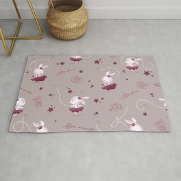 Magic moments with cute bunnies beige Rug