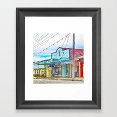 Welcoming village shop Framed Art Print