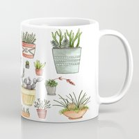 succulents Mugs featuring Potted Succulents by Brooke Weeber