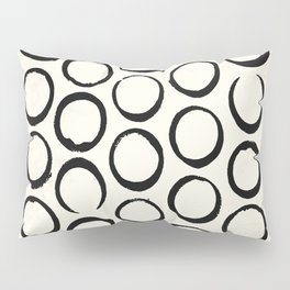 Polka Dots Circles Tribal Black and White Pillow Sham