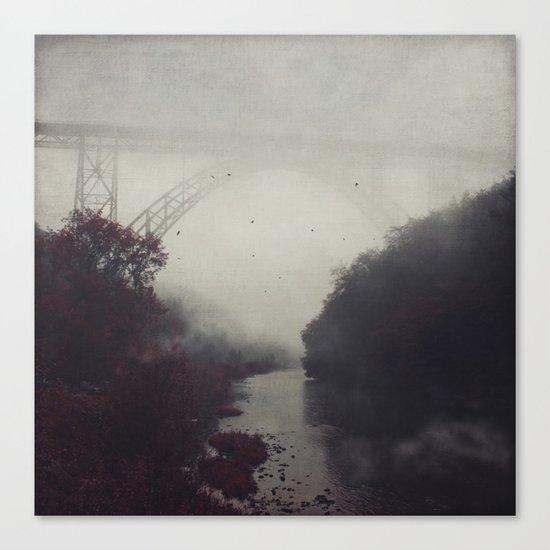 Bridge and River in Fog Canvas Print
