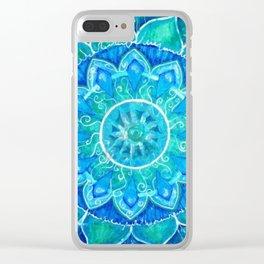 Pale Blue Mandala Clear iPhone Case