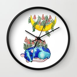 Blue mouse and moon with mushrooms. Watercolor Wall Clock