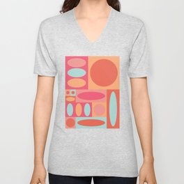 Abstract Color Blocking Unisex V-Neck
